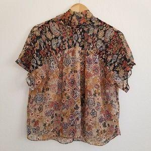 Zara Basic Back Tie Paisley Printed Blouse Top M